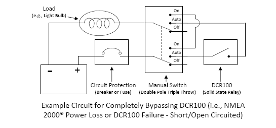 Is it possible to wire a manual override switch around the DCR100?  Load Relay Schematic Wiring Diagram on electric motor schematic diagram, relay logic diagram, relay terminal number diagram, relay circuit diagram, basic relay diagram, relay connection diagram, normally open relay diagram, basic circuit diagram, electrical relay diagram, relay function diagram, relay wiring chart, simple amplifier diagram, 12 volt 5 pin relay diagram, car relay diagram, relay schematic circuit, current relay diagram, 12 volt automotive relay diagram, 3 pole relay diagram, 8 pin relay base diagram, relay schematic symbol,