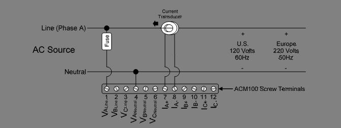 acm100 user s manual figure 3 single phase single line connection diagram